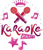 Karaoke party promotion poster design composed using musical notes and pentagonal star. Rap battle concept, two stage microphones vector illustration.