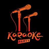 Karaoke party promotion poster design. Rap battle concept, two stage microphones vector illustration.