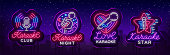 Karaoke set of neon signs. Collection is a light logo, a symbol, a light banner. Advertising bright night karaoke bar, party, disco bar, night club. Live music. Design template. Vector. Billboard