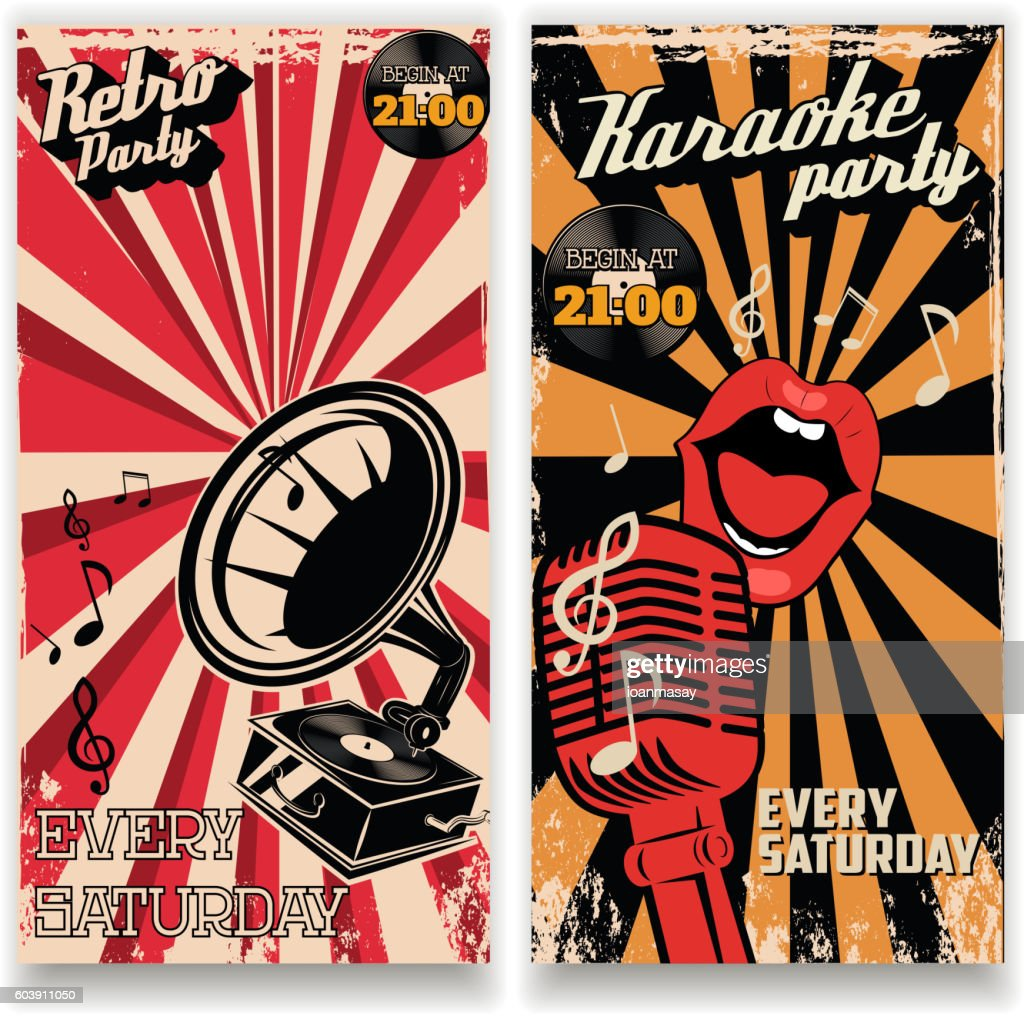 Karaoke vintage party poster and retro party flyers templates.