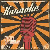 Karaoke vintage poster. Design element in vector.