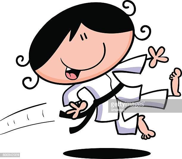 ilustrações de stock, clip art, desenhos animados e ícones de karaté rapariga - judo