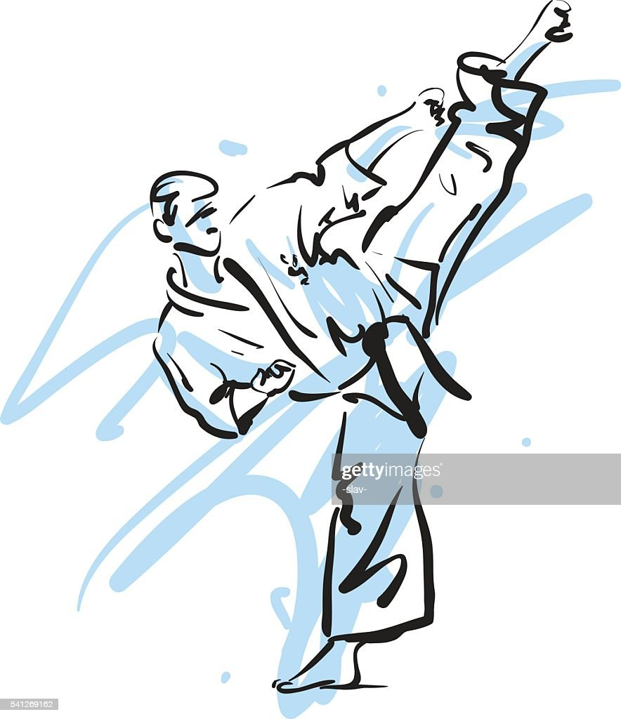karate kick, vector illustration
