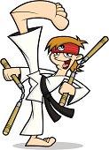 Karate Kid High Kick with Nunchucks