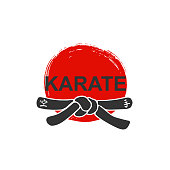 Karate - vector stylized font with black belt  knot of japanese martial arts on white background with red ink sun. Hand drawn asian sport calligraphy