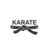 Karate - vector stylized font with black belt  knot of japanese martial arts on white background. Hand drawn asian sport calligraphy