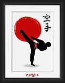 Karate-japanese martial art -vector  calligraphy symbols on red sun flag  background. Japan budo  kanji hieroglyph and men demonstrating karate. Hand drawn ink brush  illustration in photo frame