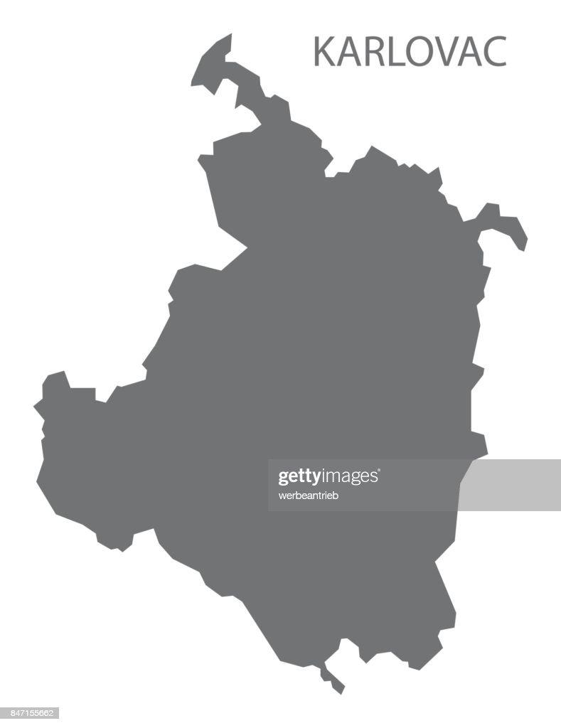 Karlovac Croatia County Map Grey Illustration Silhouette Shape ...