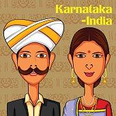 Karnatakani Couple in traditional costume of Karnataka, India