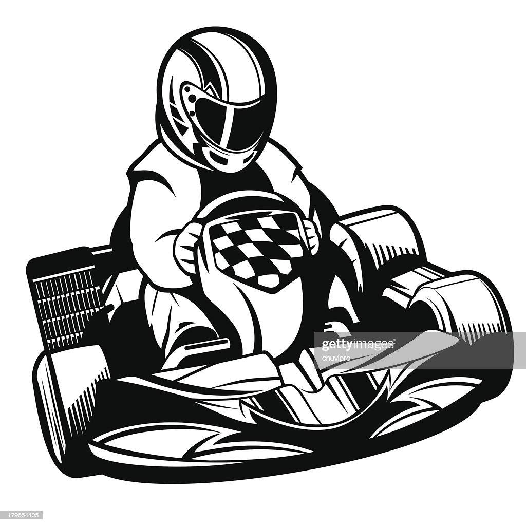 kart racing bw vector art getty images Futurist Go Karts