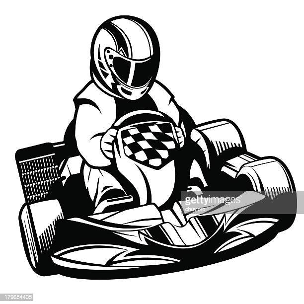 kart racing bw - go carting stock illustrations, clip art, cartoons, & icons