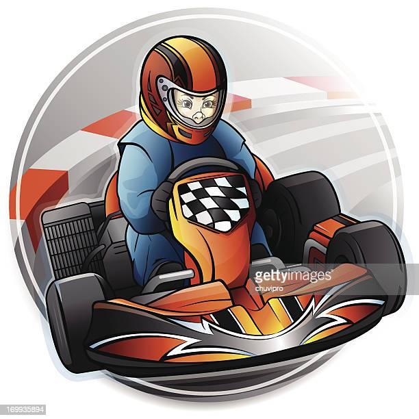 kart racing - go carting stock illustrations, clip art, cartoons, & icons