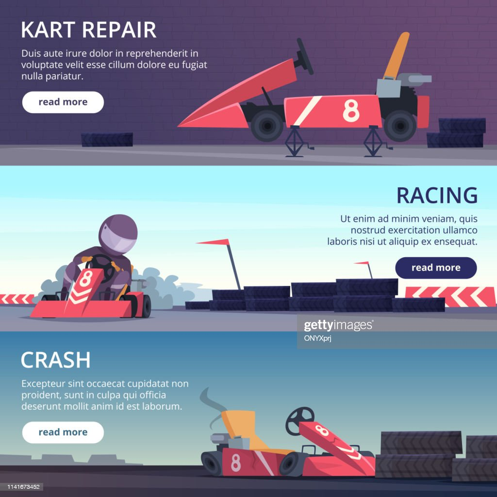 Karting cars. Banners with sport pictures of speed fast karting racing automobiles vector cartoon pictures