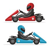 Karting go. Racing on sport kart driver man