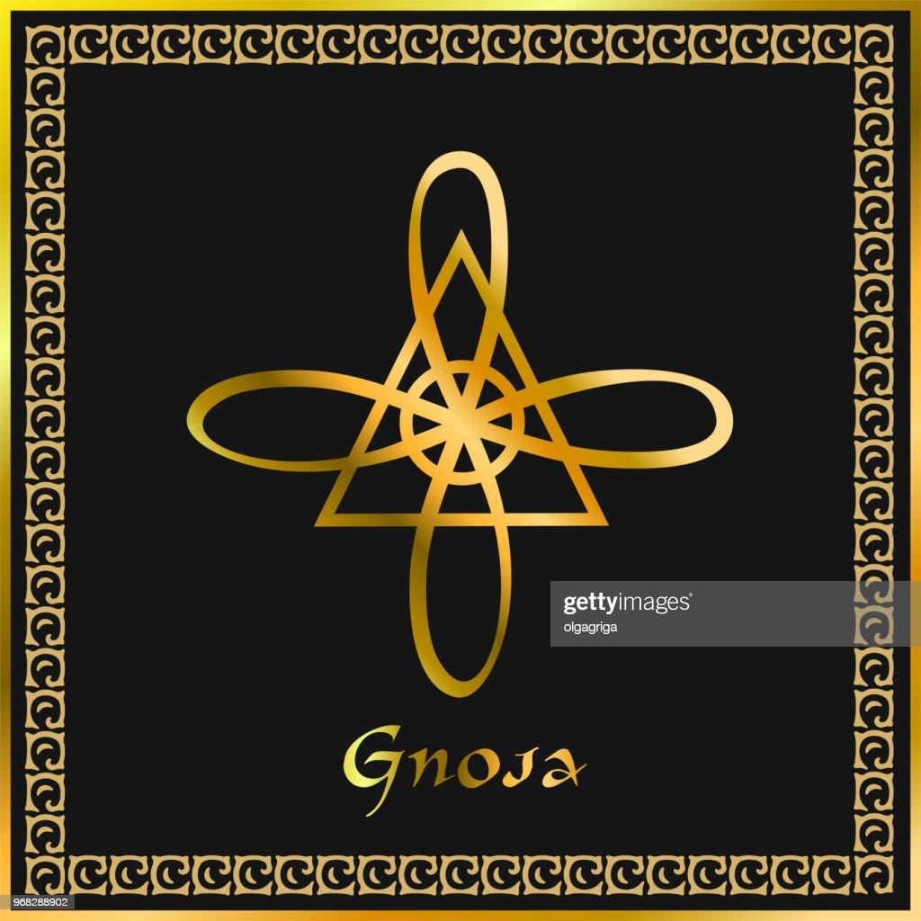 Karuna Reiki. Energy healing. Alternative medicine. Gnosa Symbol. Spiritual practice. Esoteric. Golden. Vector