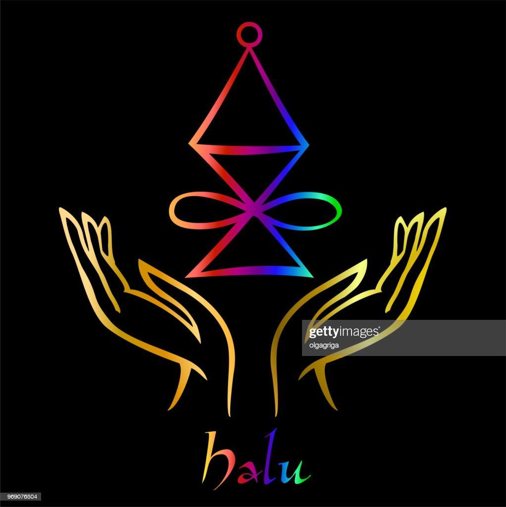 Karuna Reiki. Energy healing. Alternative medicine. Halu Symbol . Spiritual practice. Esoteric.Open palm. Rainbow color. Vector