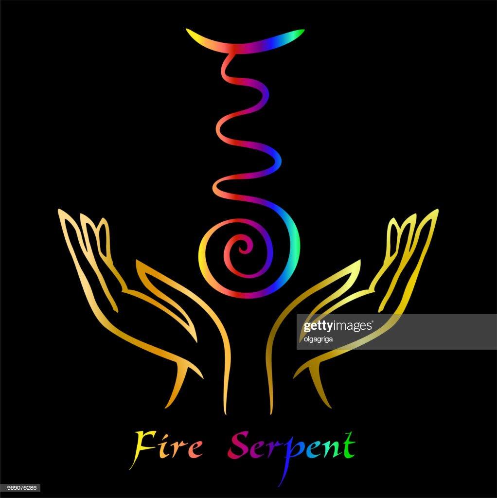 Karuna Reiki. Energy healing. Alternative medicine. Symbol Fire Serpent. Spiritual practice. Esoteric.Open palm. Rainbow color. Vector