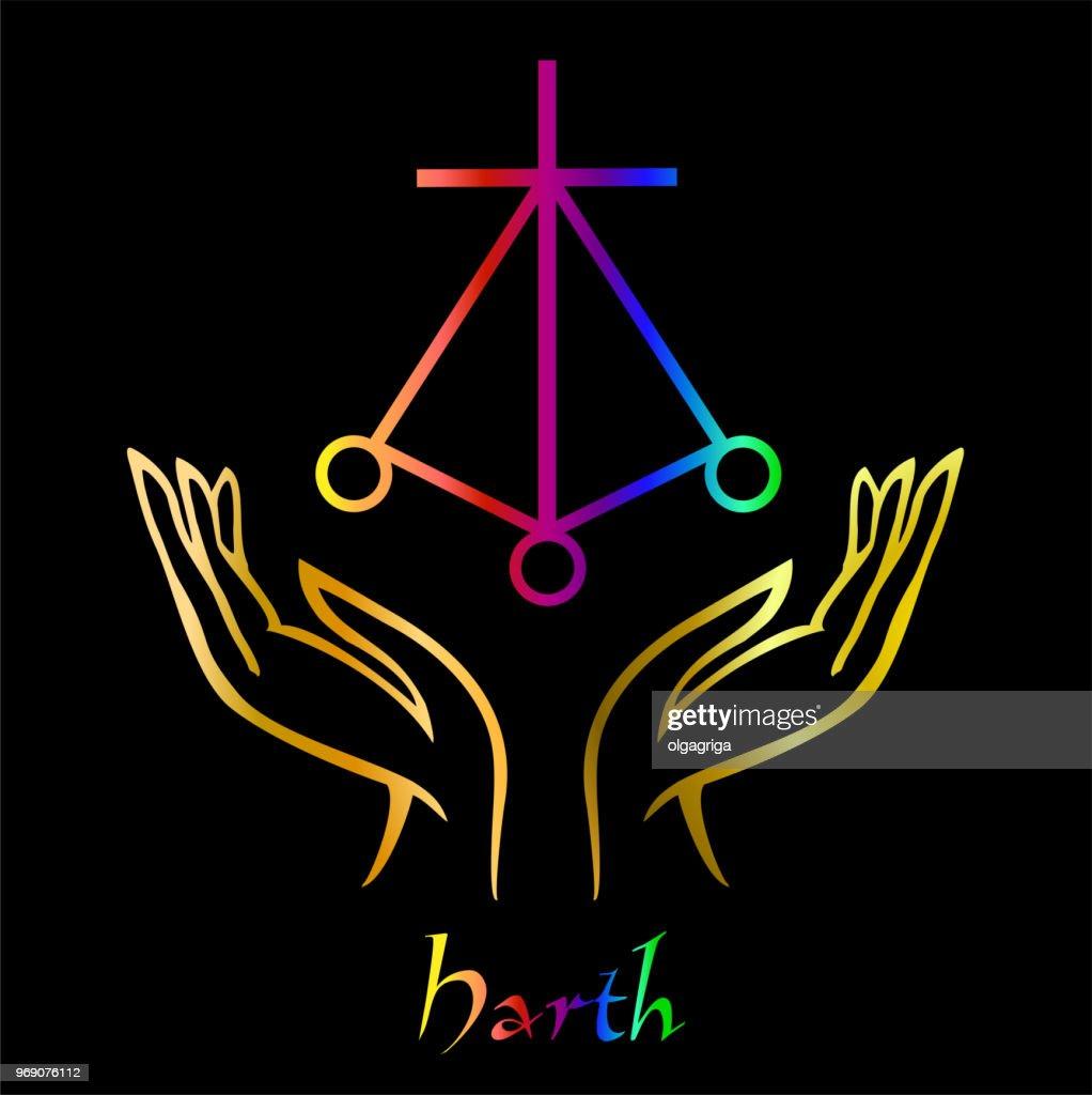 Karuna Reiki. Energy healing. Alternative medicine. Symbol Harth . Spiritual practice. Esoteric.Open palm. Rainbow color. Vector