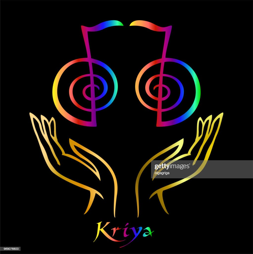 Karuna Reiki. Energy healing. Alternative medicine. Symbol Kriya. Spiritual practice. Esoteric.Open palm. Rainbow color. Vector