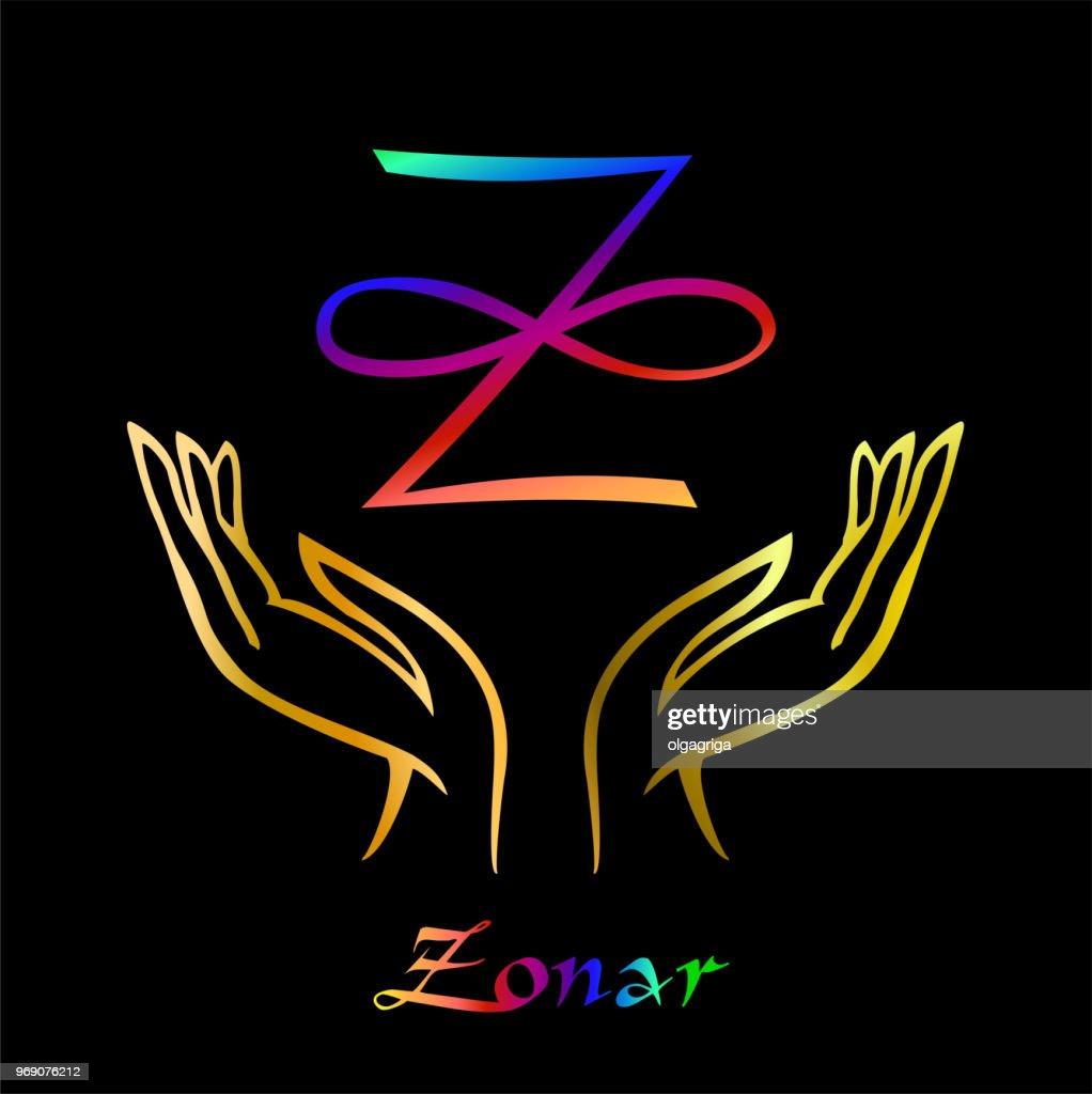 Karuna Reiki. Energy healing. Alternative medicine. Symbol Of Zonar. Spiritual practice. Esoteric. Open palm. Rainbow color. Vector