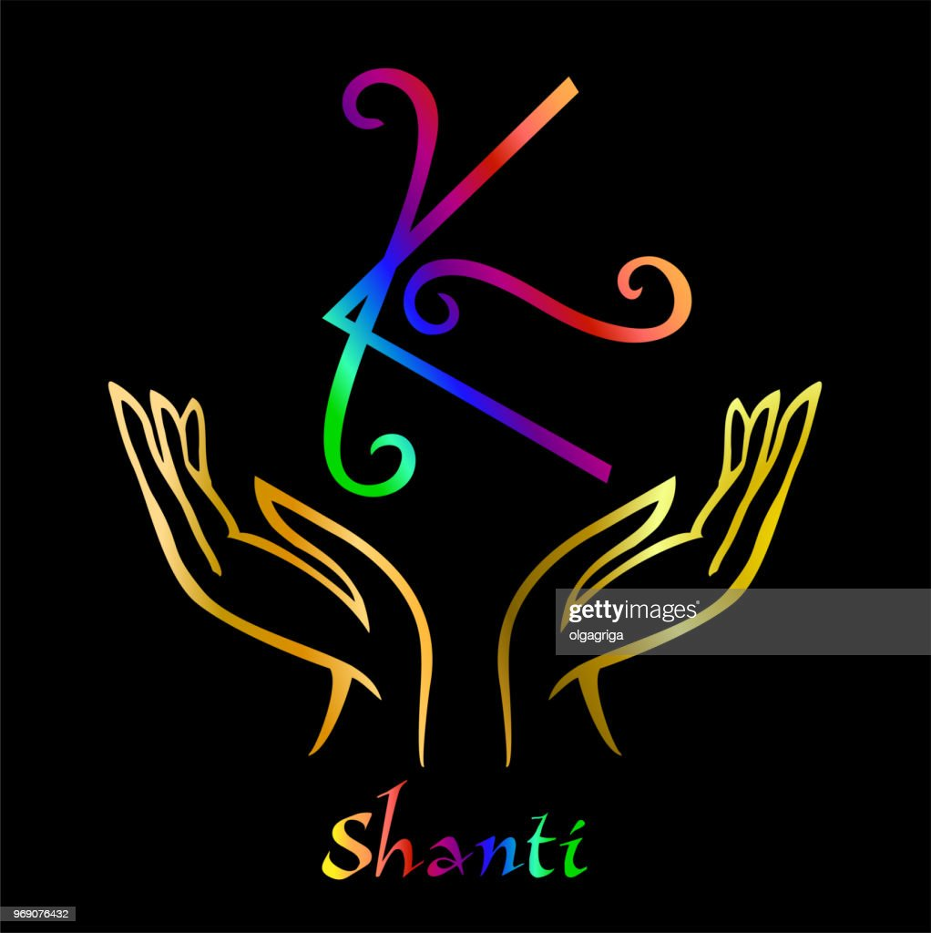 Karuna Reiki. Energy healing. Alternative medicine. Symbol Shanti . Spiritual practice. Esoteric.Open palm. Rainbow color. Vector