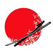 katana sword and cherry tree blossom against red sun