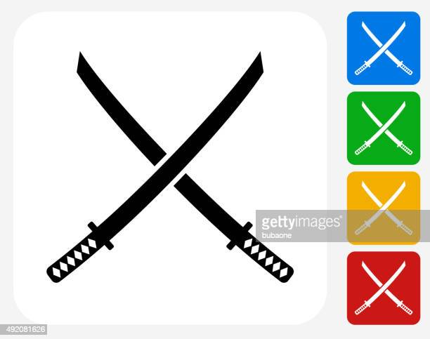 Katana Swords Icon Flat Graphic Design