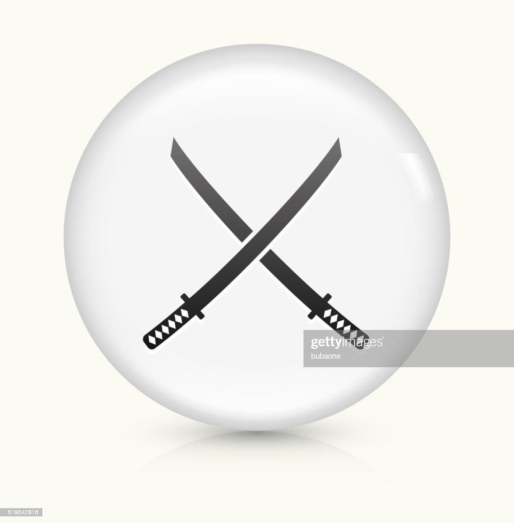Katana Swords icon on white round vector button