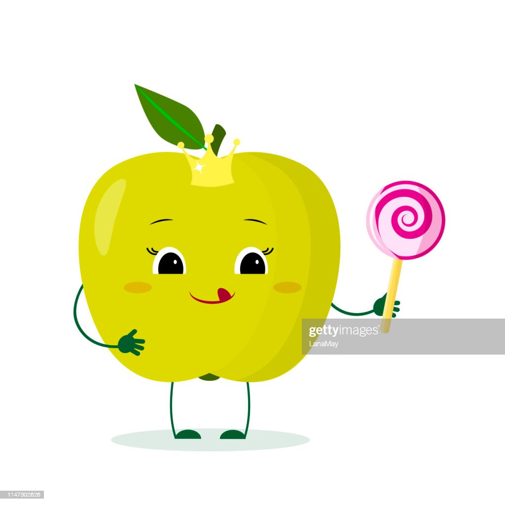 Kawai cute green apple fruit cartoon character in a crown with a lollipop. Logo, template, design. Vector illustration, flat style