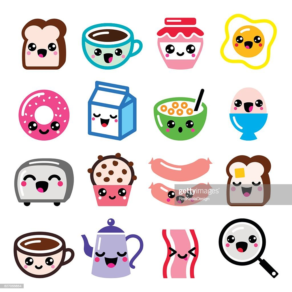 Kawaii breakfast food and beverages, cute vector icons set