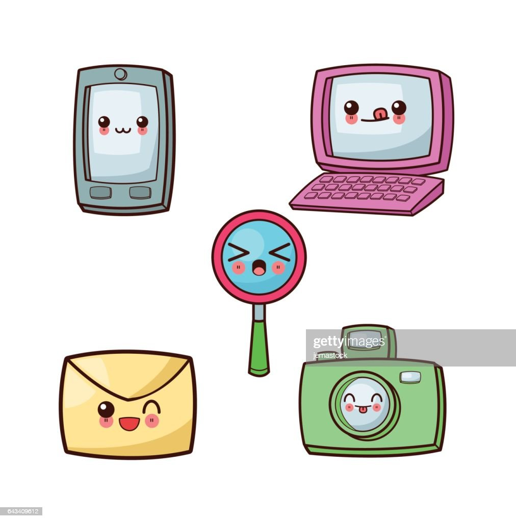 Kawaii cartoon icon set. Technology and Social media. Vector gra