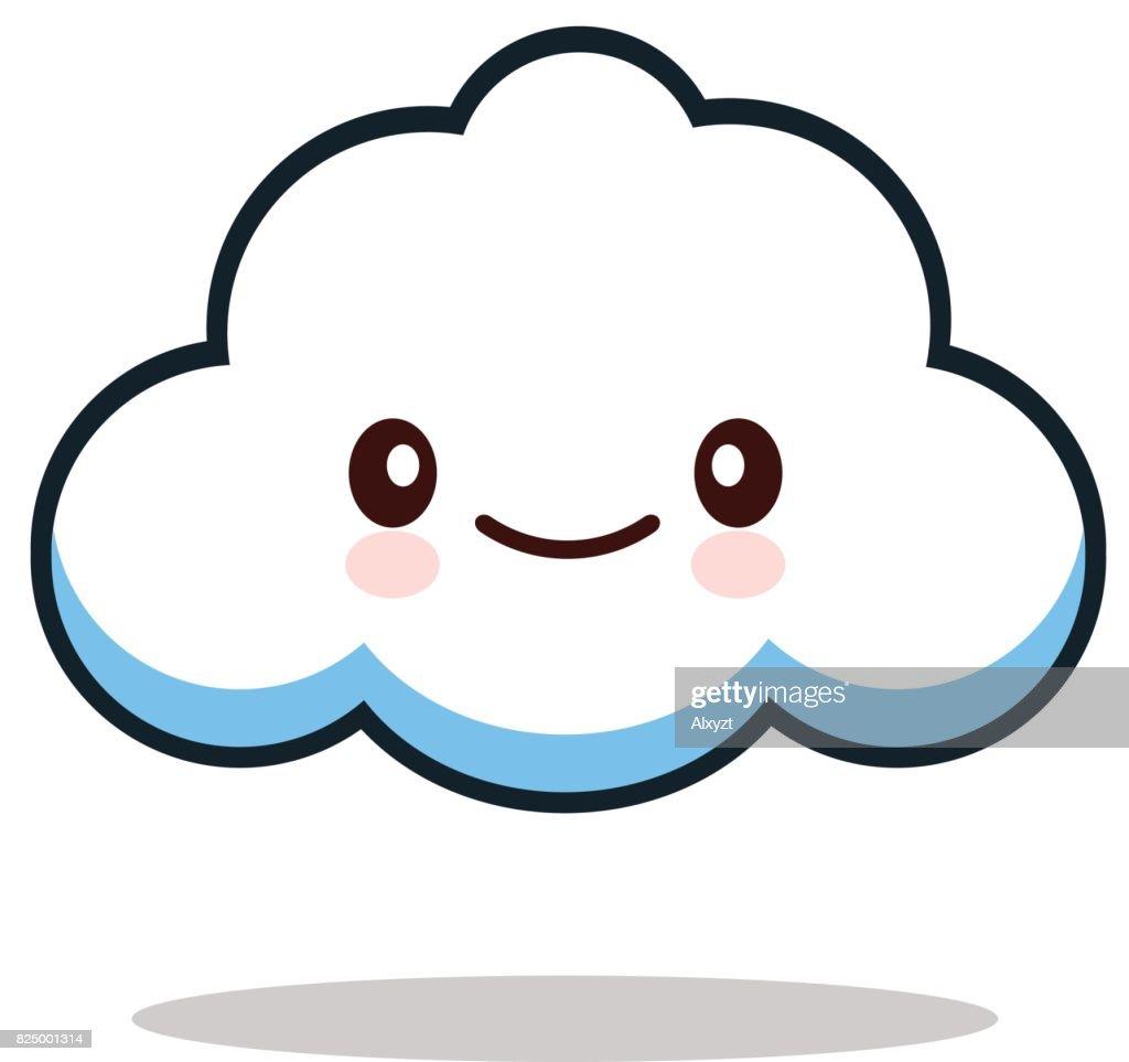 Kawaii cartoon white emoticon cute cloud.