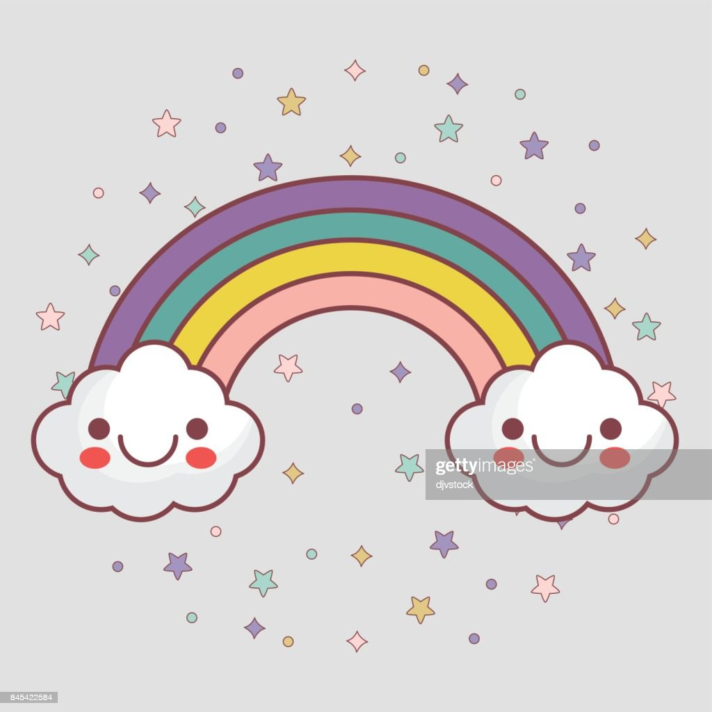 kawaii clouds and rainbow icon