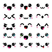 Kawaii cute faces, Kawaii emoticons, adorable characters design
