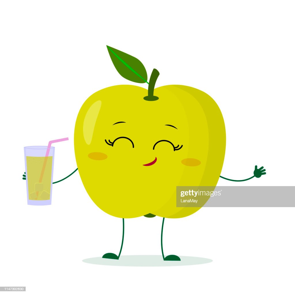 Kawaii cute green apple fruit cartoon fruit character holding a glass with juice. Logo, template, design. Vector illustration, flat style