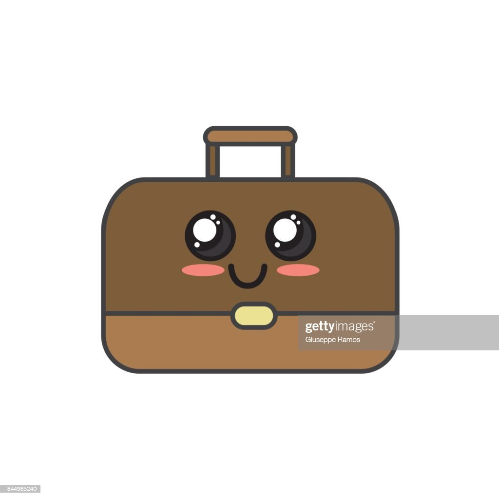 kawaii cute happy briefcase icon