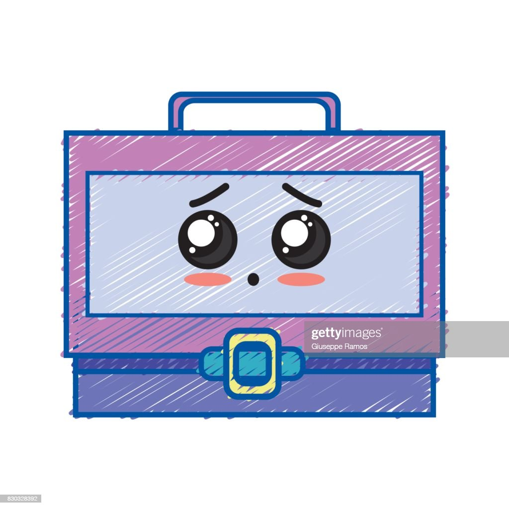 kawaii cute sad suitcase design