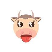 kawaii face cow animal fun