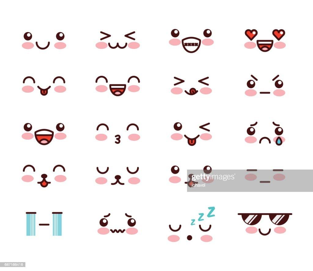 kawaii face icon design