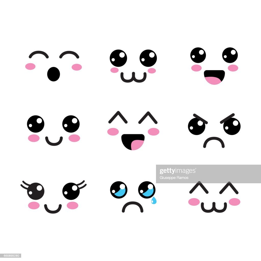 kawaii faces eyes icon