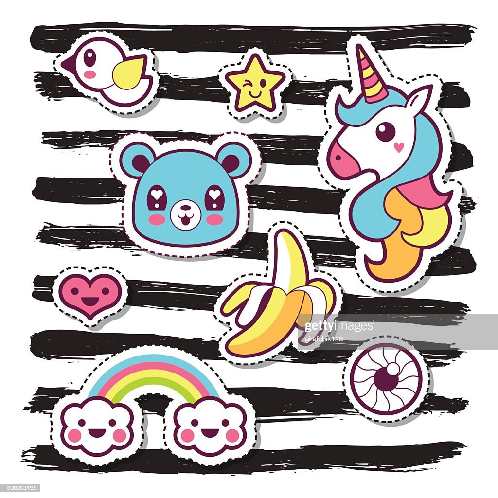 Kawaii fashion chic patches, pins, badges and stickers design set