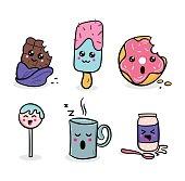 kawaii food set. Sweet kawaii characters illustrations.