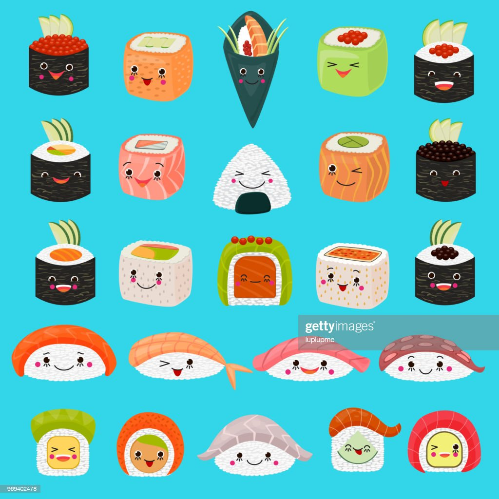 Kawaii food vector emoticon japanese sushi character and emoji sashimi roll with cartoon rice in Japan restaurant illustration asian cuisine set with facial emotions isolated on background