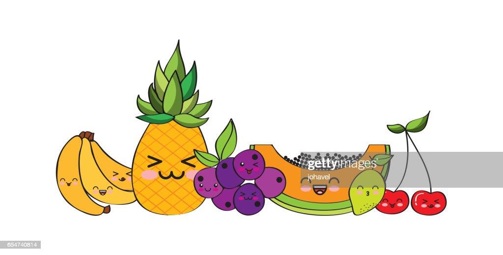 Desenho De Frutas Kawaii Ilustração Getty Images