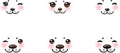 Kawaii funny albino animal white muzzle pink cheeks winking eyes.