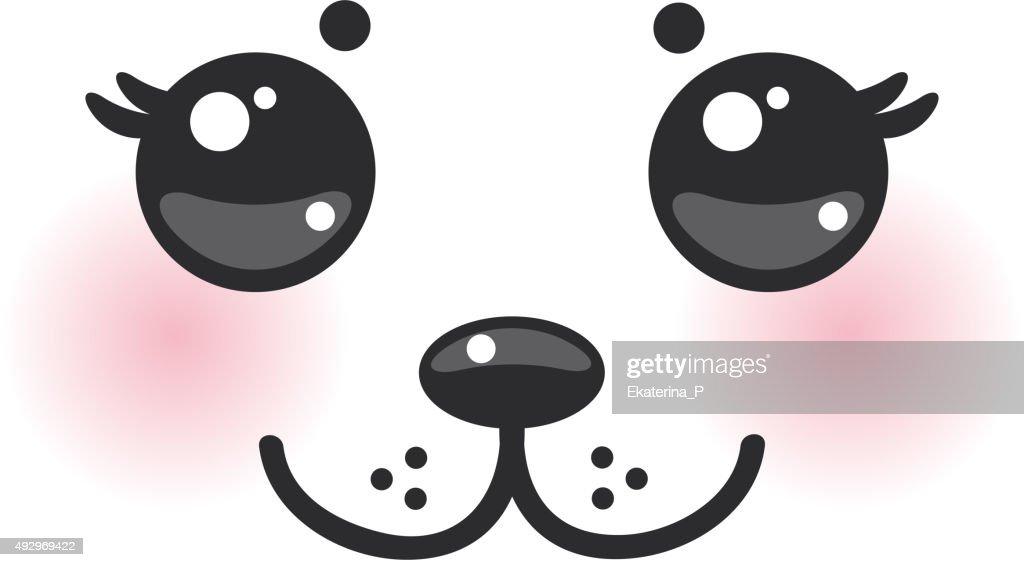 Kawaii funny albino animal white muzzle with pink cheeks
