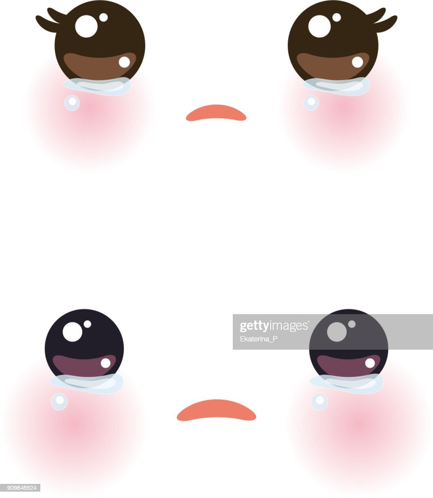 Kawaii funny muzzle with pink cheeks and big eyes Cute Cartoon Crying Face on white background. Vector