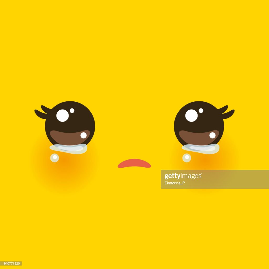 Kawaii funny muzzle with pink cheeks and big eyes Cute Cartoon Crying Face on yellow orange background. Vector