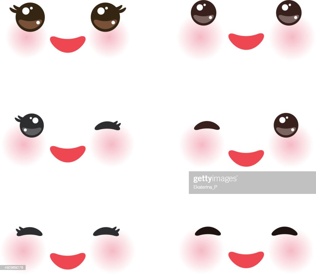 Kawaii funny muzzle with pink cheeks and winking eyes