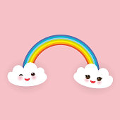 Kawaii funny white clouds set, muzzle with pink cheeks and winking eyes, rainbow on light pink background. Vector